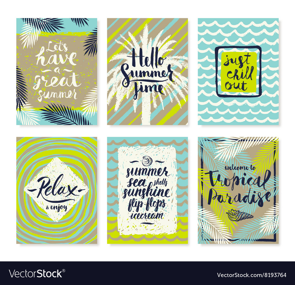 Summer Vacation Posters Or Greeting Card Vector Image