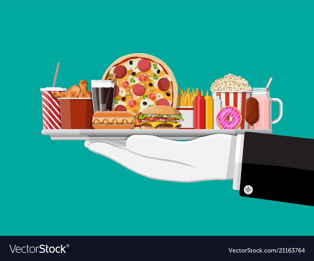 Tray with fast food in hand of waiter