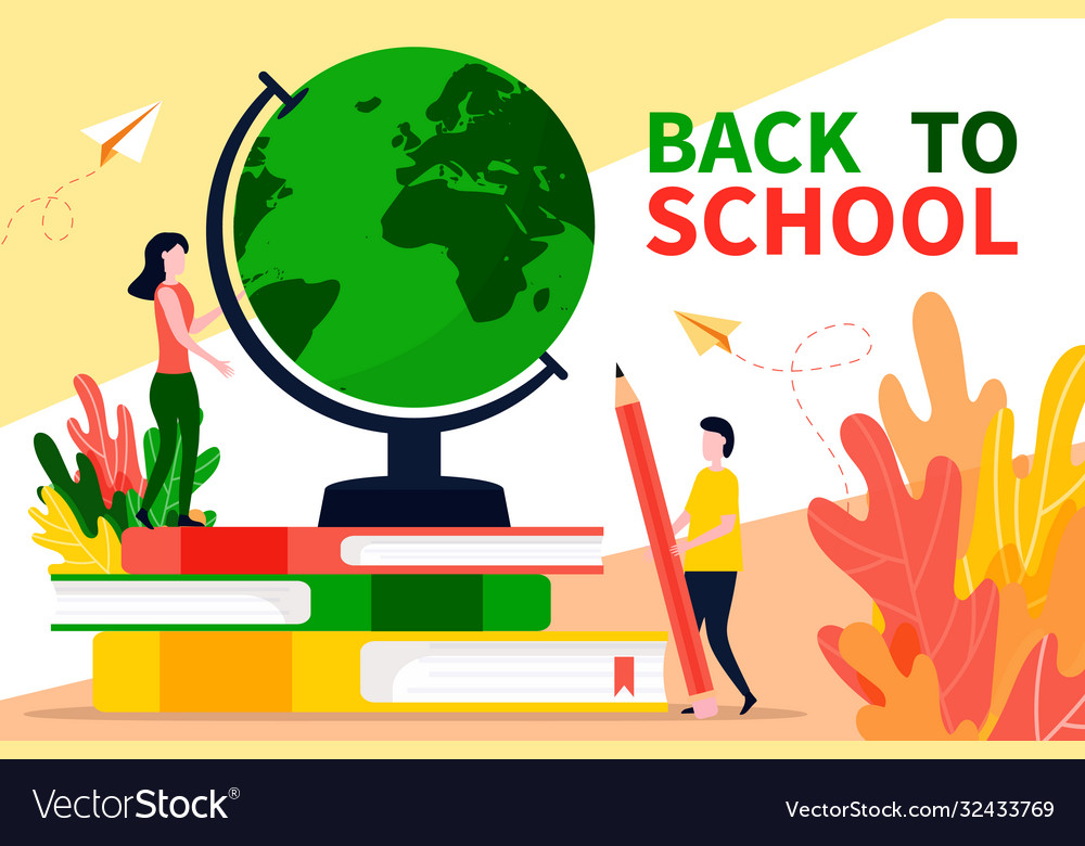 Back to school banner or landing page in flat
