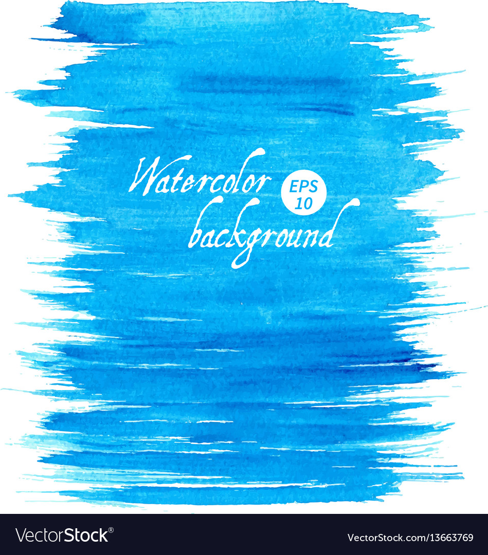 Blue abstract hand drawn watercolor