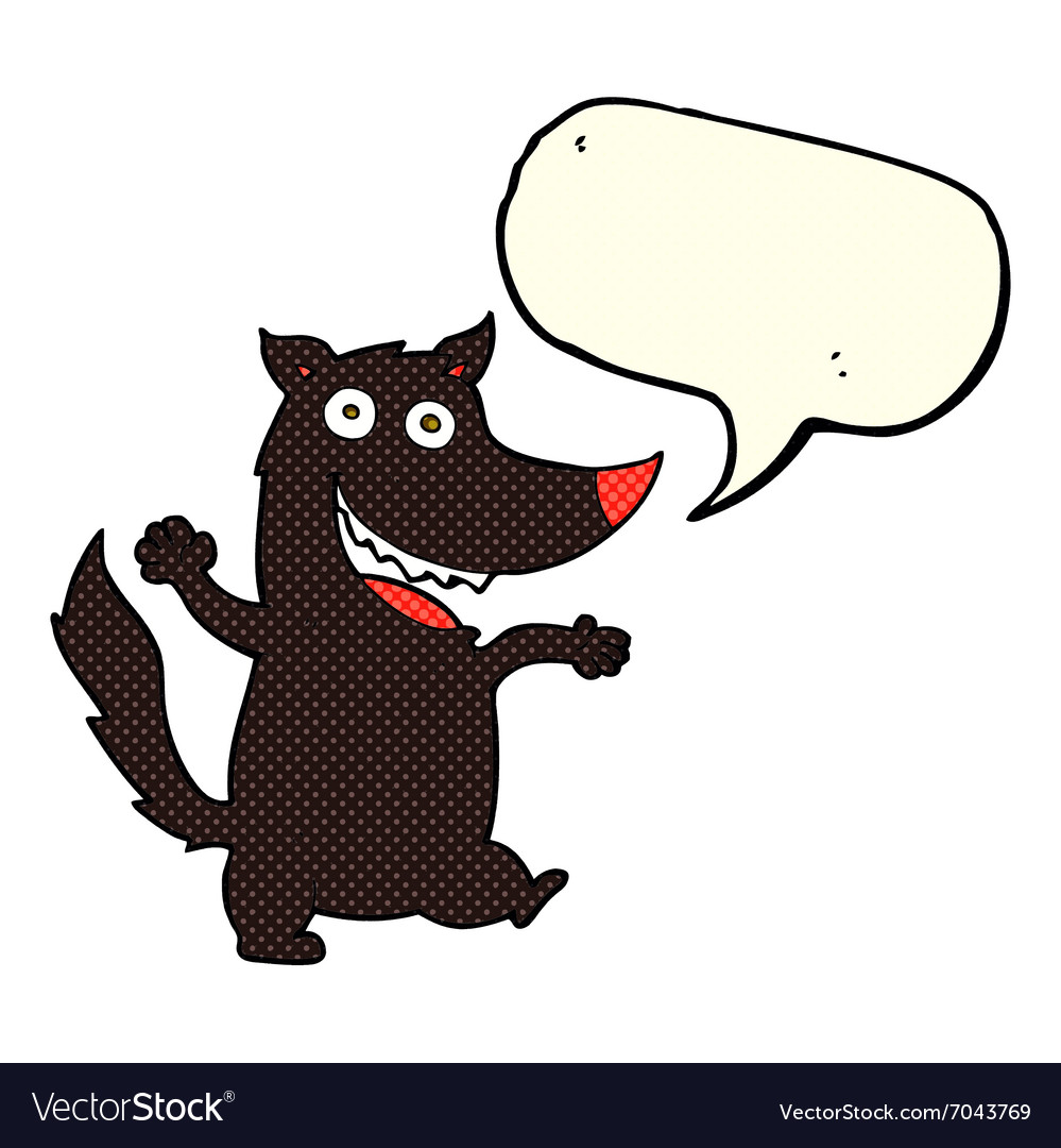 Cartoon happy wolf with speech bubble