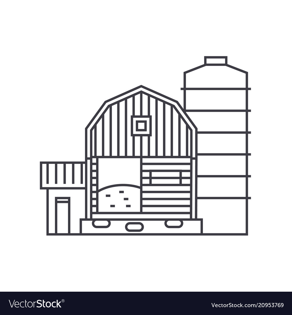 Farm thin line icon concept farm linear