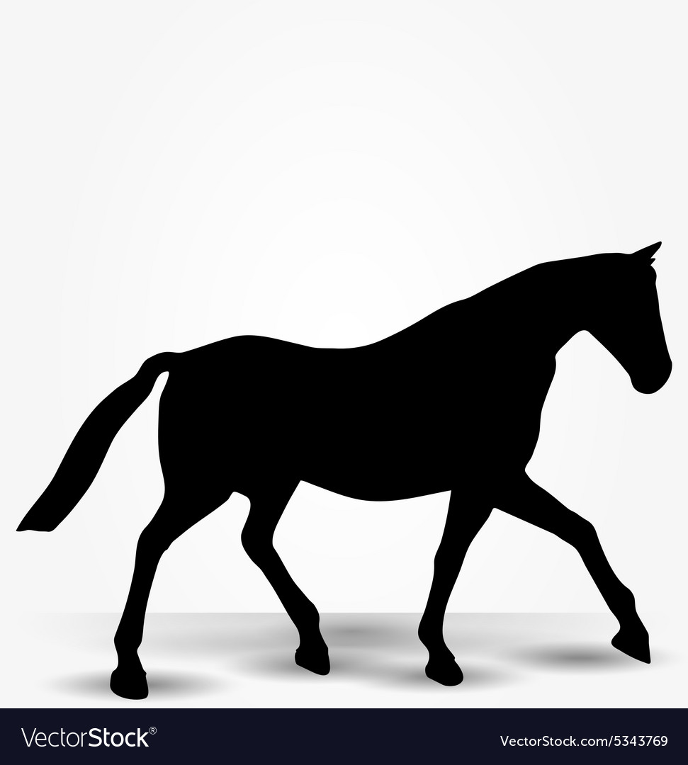 Horse Silhouette In Parade Walk Pose Royalty Free Vector