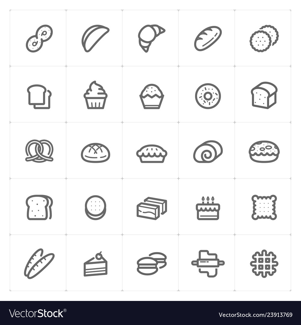 Icon set - bakery and bread outline stroke