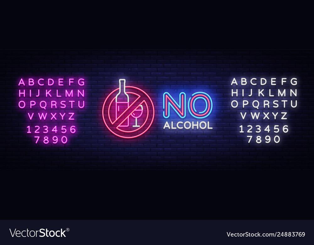 No alcohol neon sign ban alcohol design