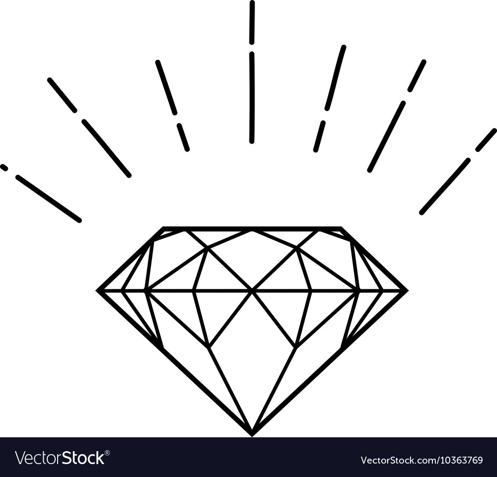 Outline hipster diamond vector image