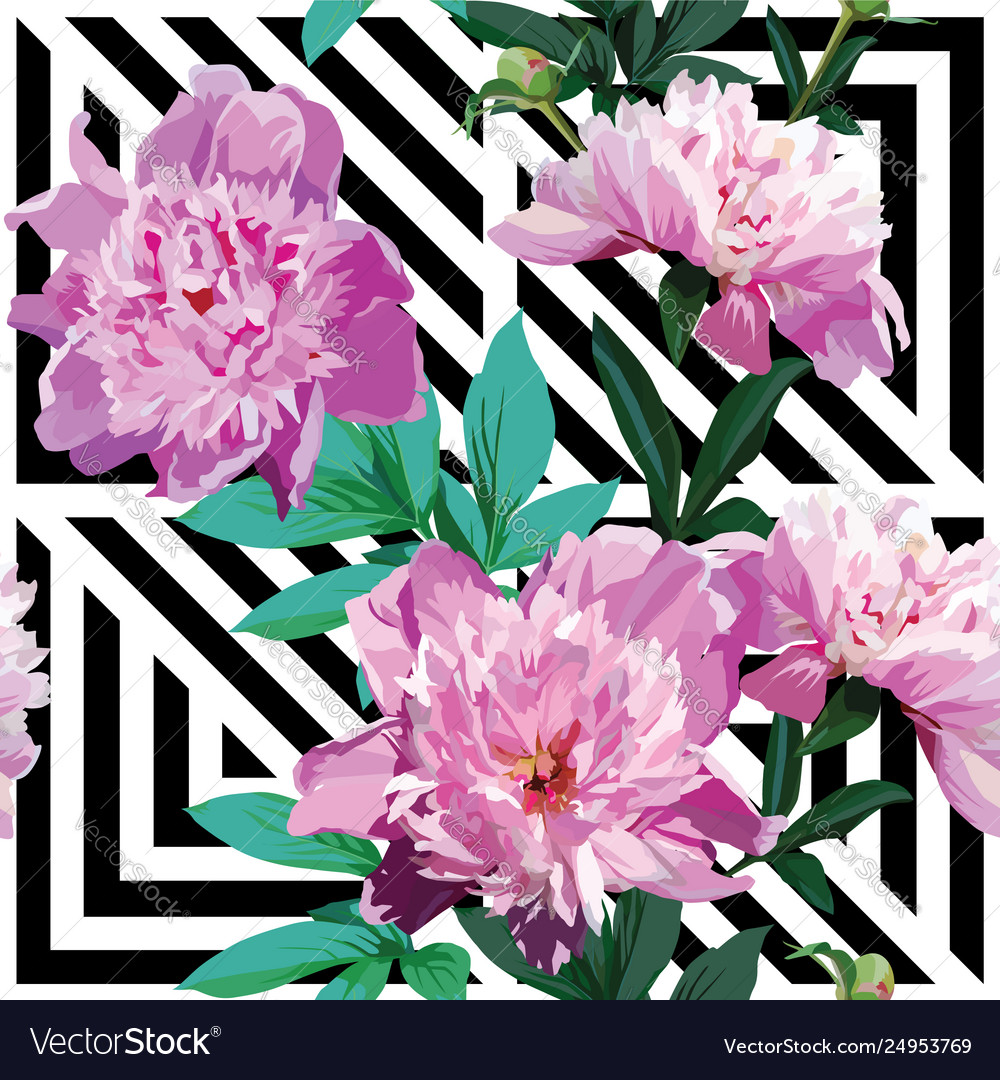 Pink peony floral pattern geometric black and