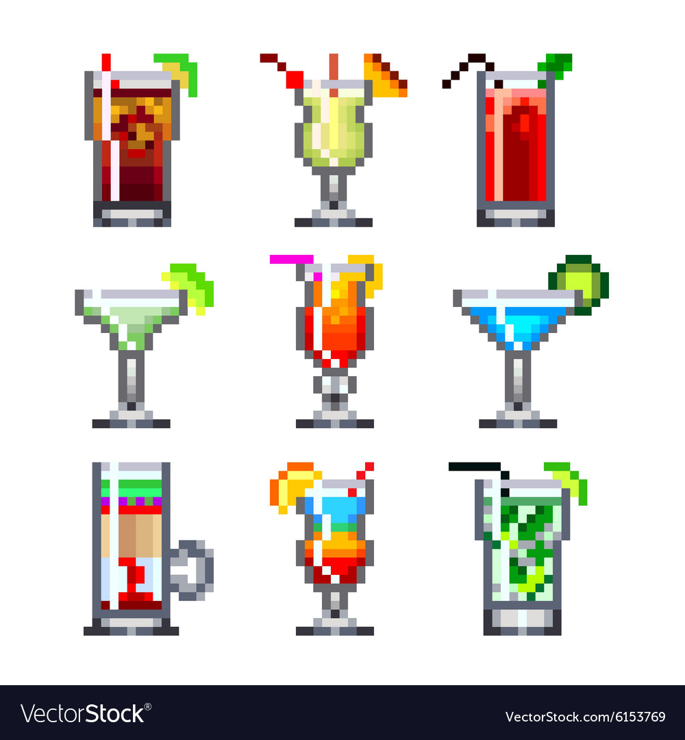 Pixel cocktails for games icons set