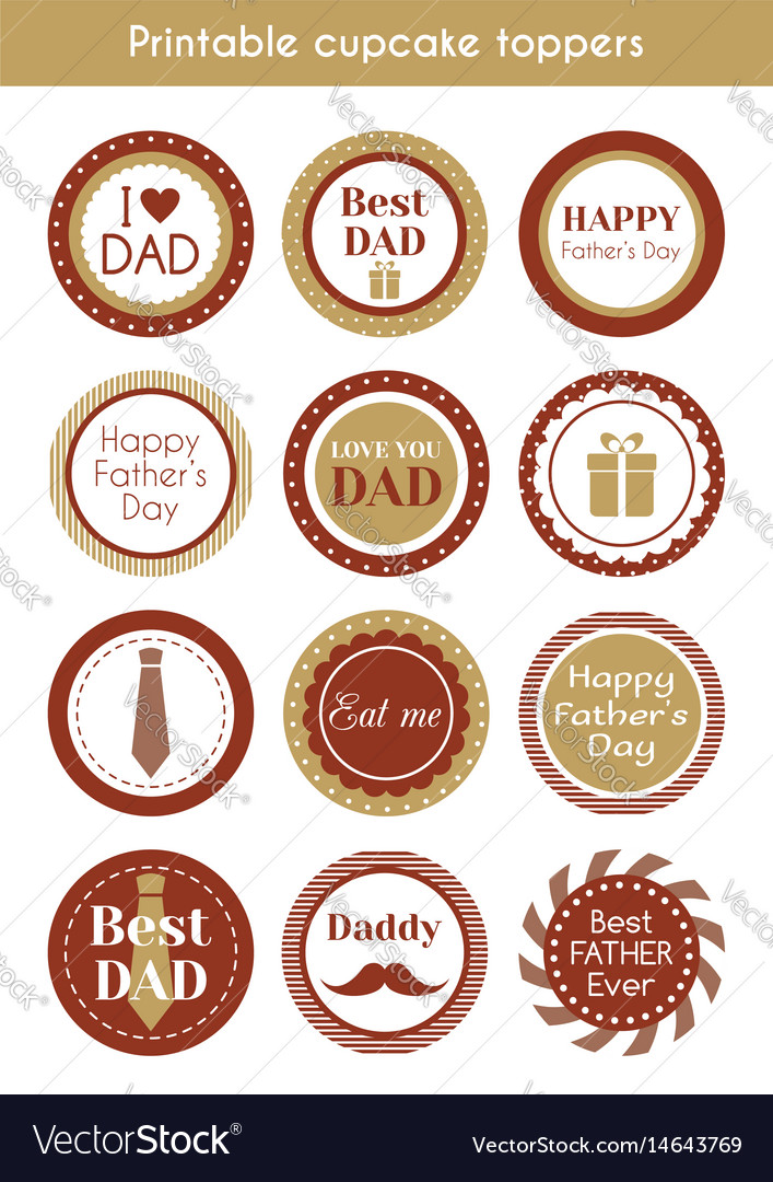 image relating to Printable Cupcakes Toppers referred to as Printable hipster cupcake toppers for fathers working day