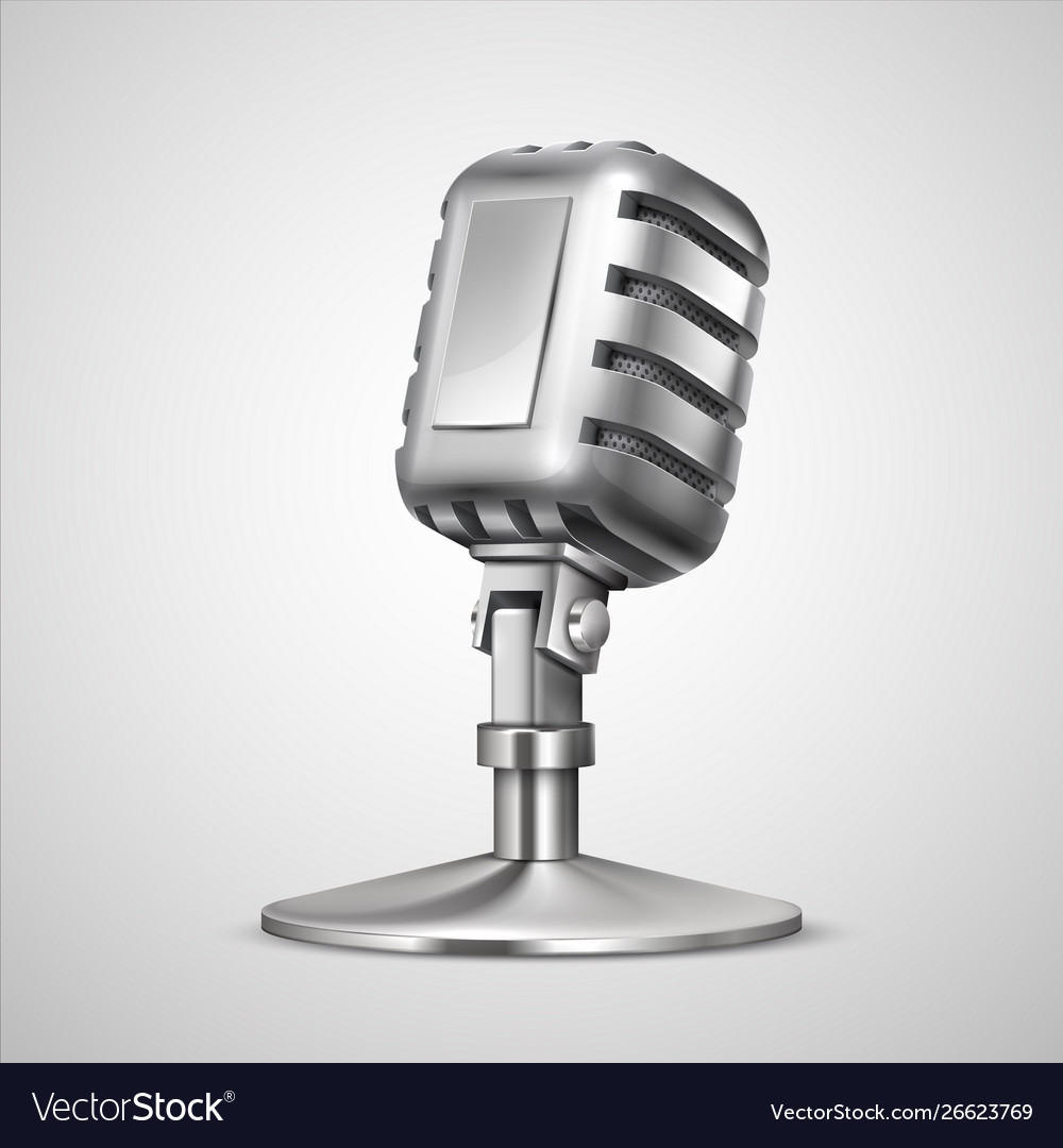 Realistic retro microphone 3d vintage metal mic vector