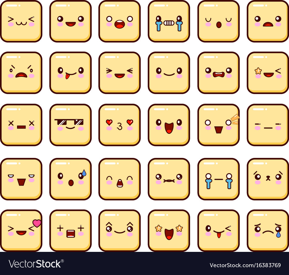 Set of emoticons icon big pack emoji isolated on