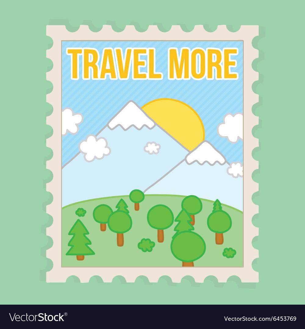 Travel more motivation postcard vector image