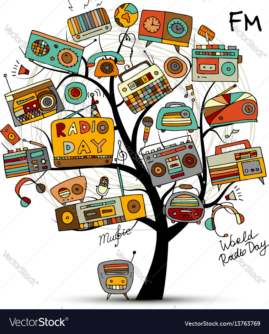 Vintage radio tree sketch for your design