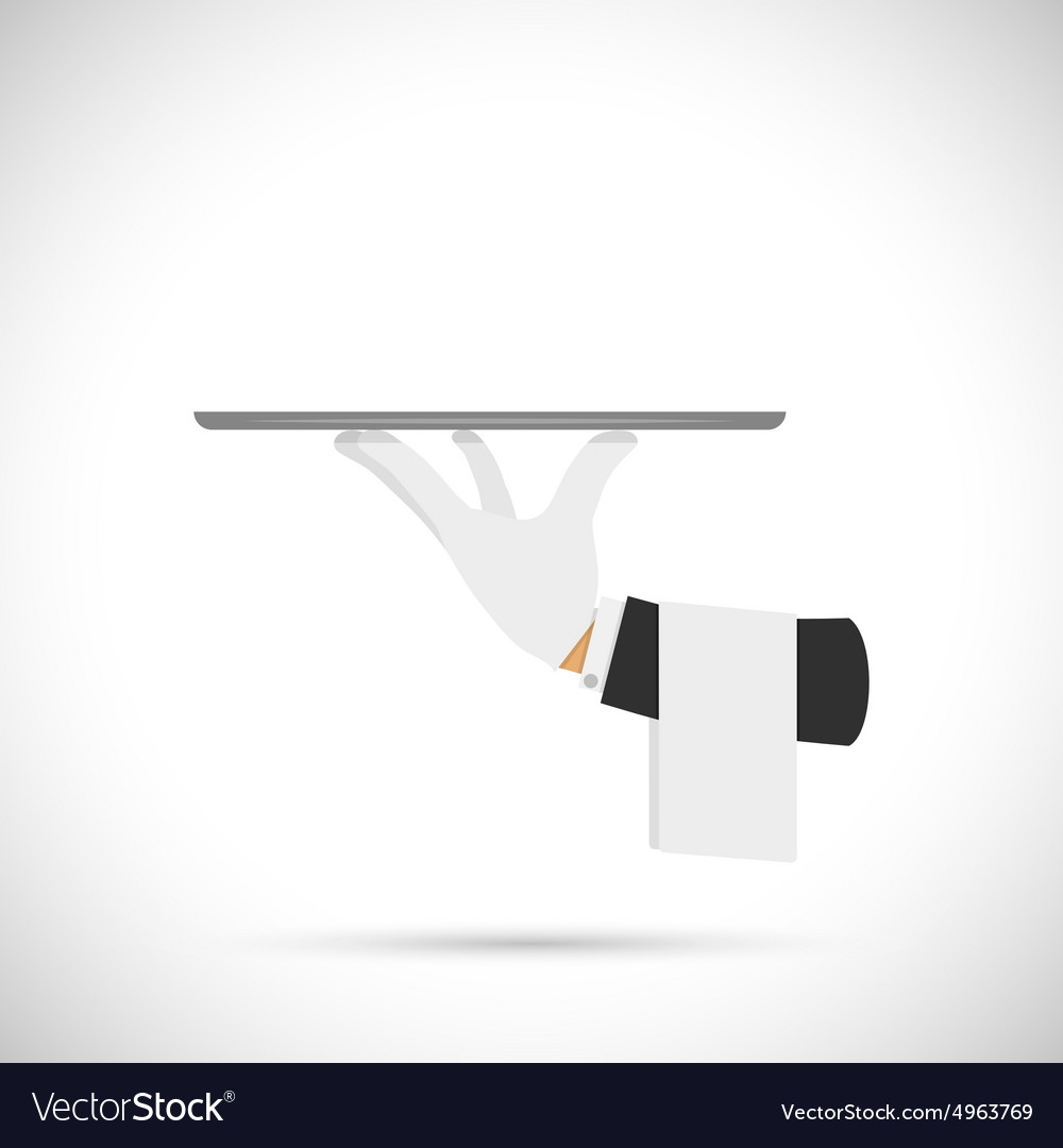 Waiter hand with tray and towel