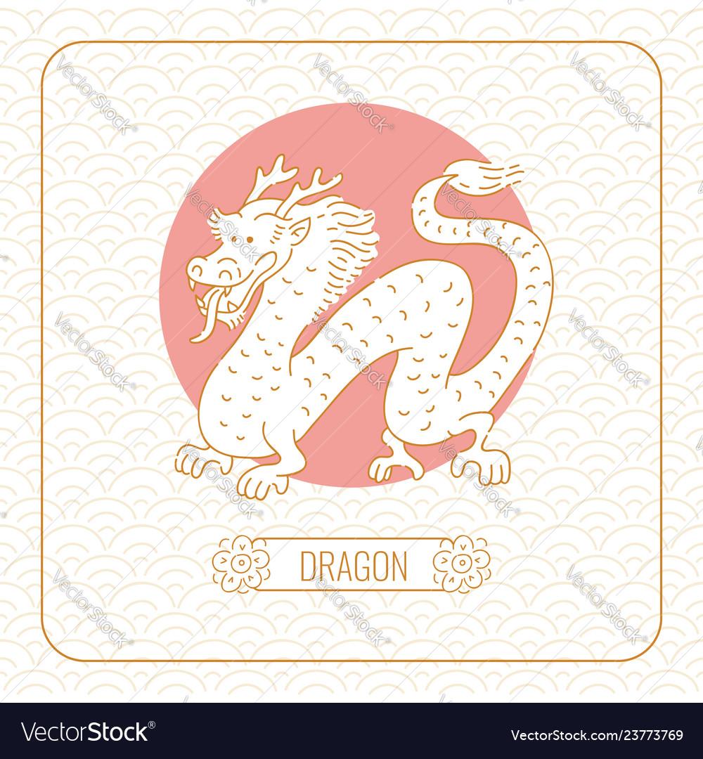 Year dragon chinese horoscope line art and