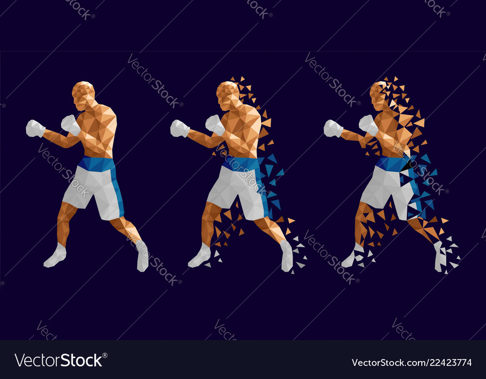 Abstract boxers fighting against each other