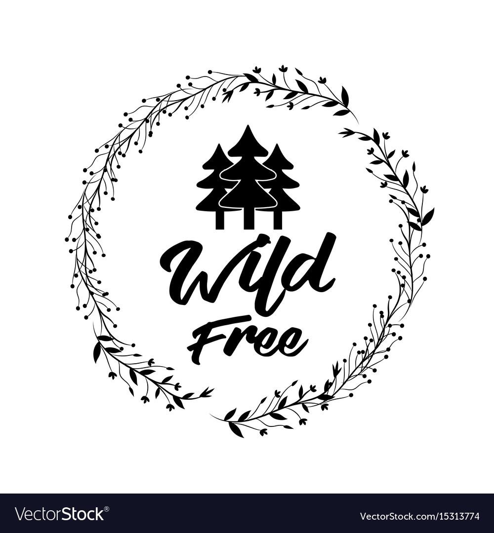 Branches around pine trees design vector image
