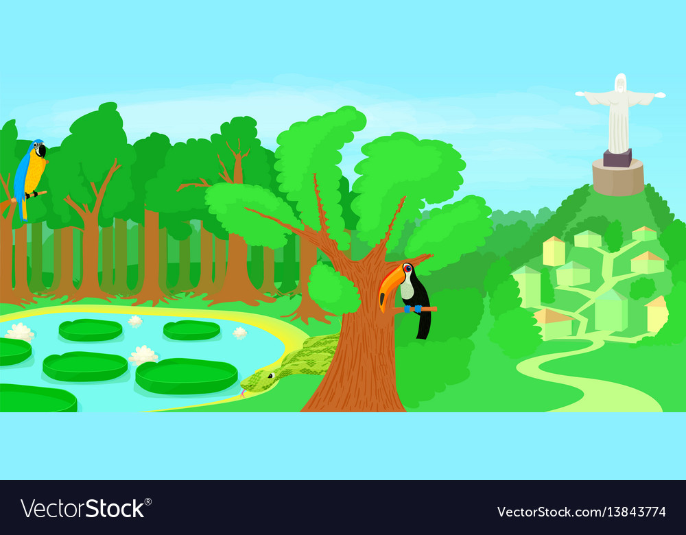 Brazil horizontal banner forest cartoon style