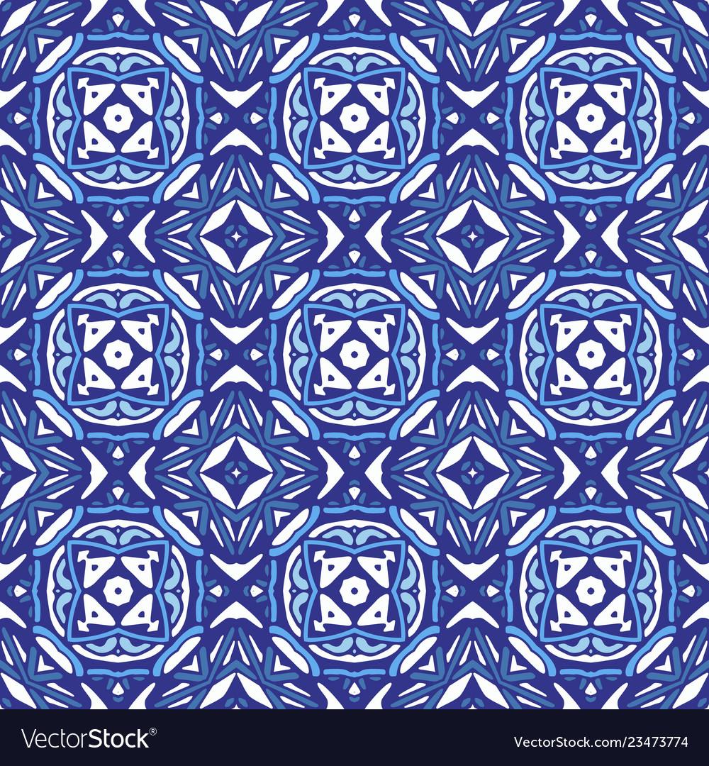 Damask mosaic geometric blue seamless tiles