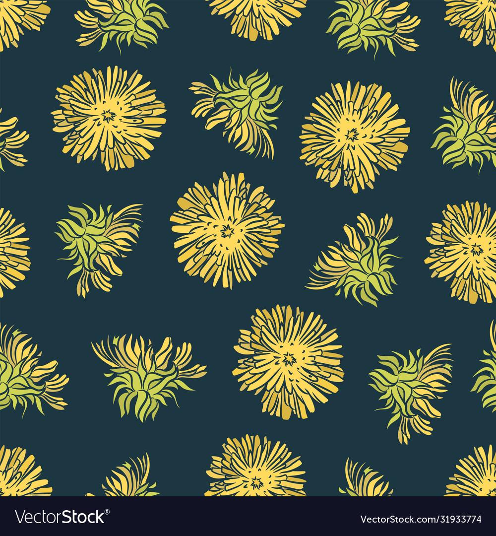 Dandelion color plant seamless pattern illu