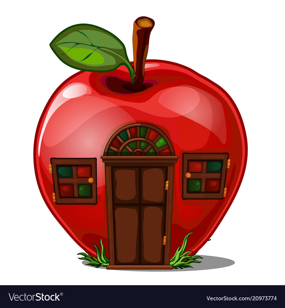 Fairy house in the shape of an apple isolated on a
