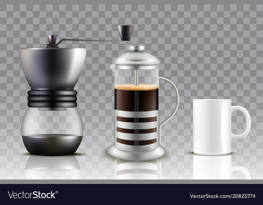 French press coffee set vector image