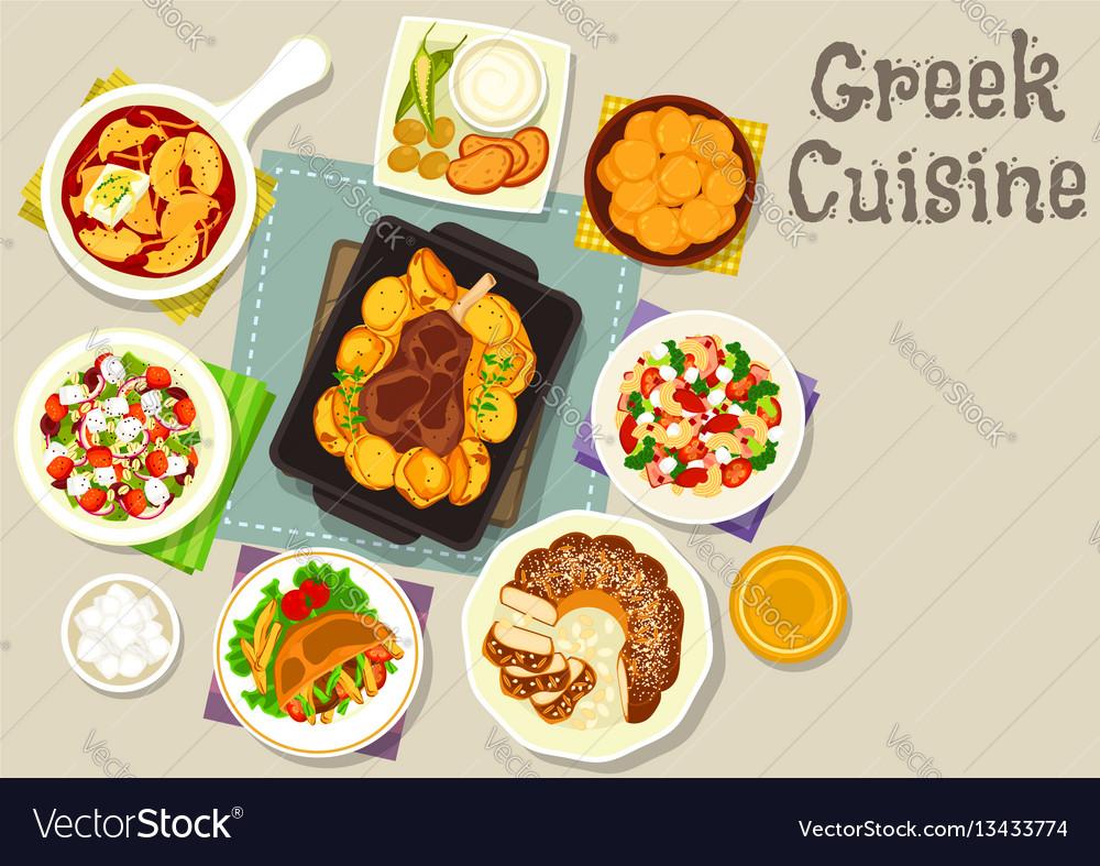 Greek cuisine lunch with dessert icon