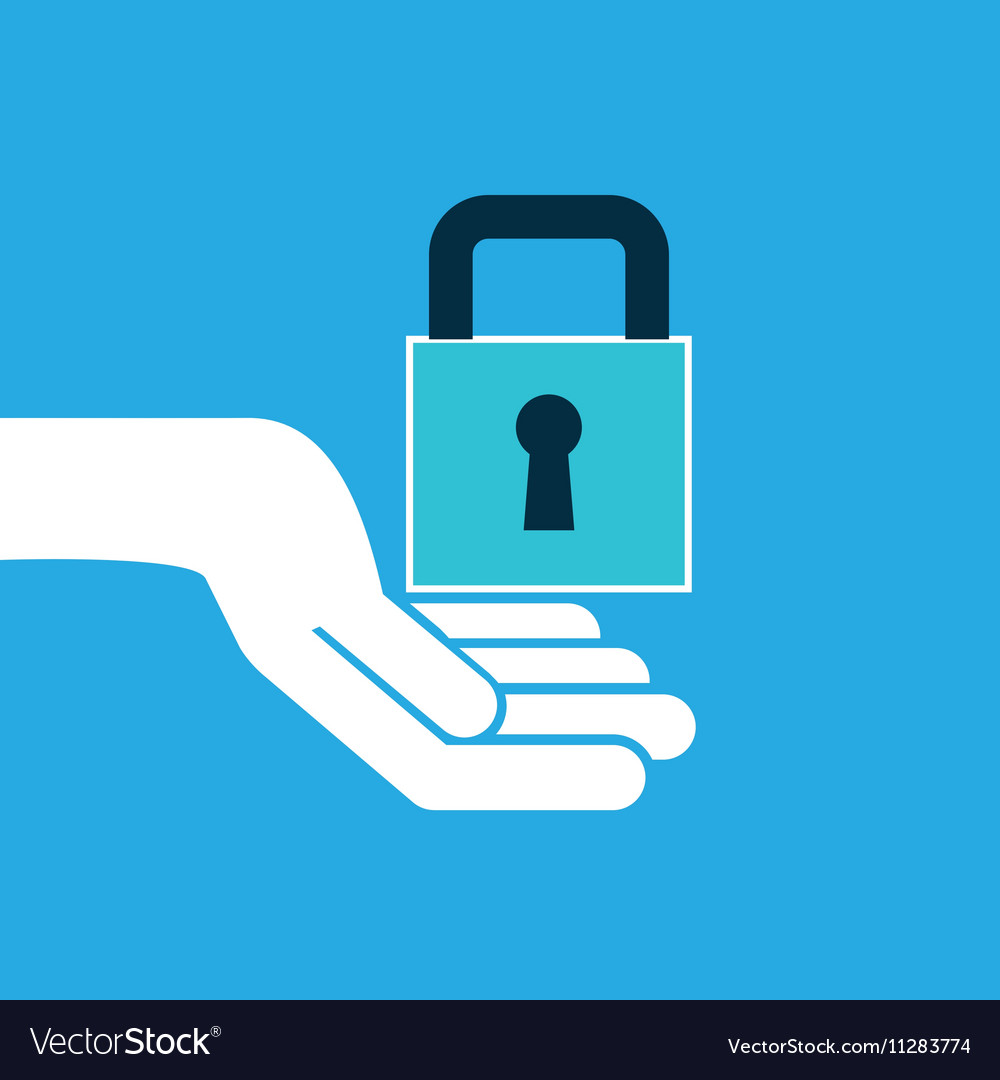 Hand hold icon padlock password design flat vector image