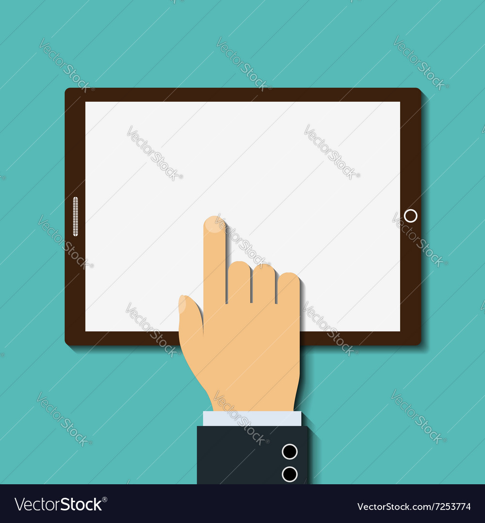 Human finger touches the screen vector image