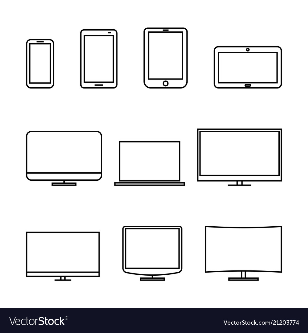 Icons digital devices thin lines