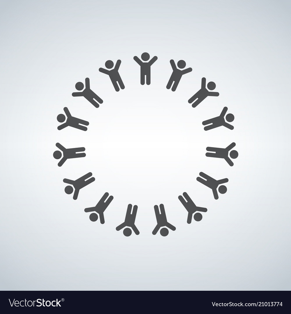 Large group of people in the shape of circle