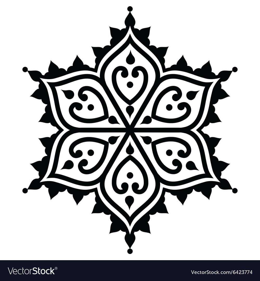 Mehndi Indian Henna Tattoo Desgin Star Shape Vector Image