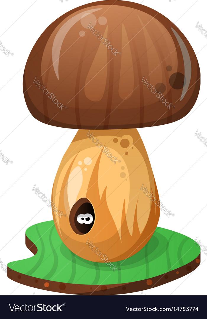 Mushroom and cartoon worm vector image