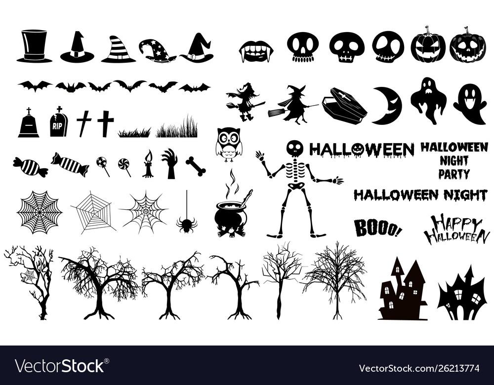 Set halloween silhouettes icon witch creepy
