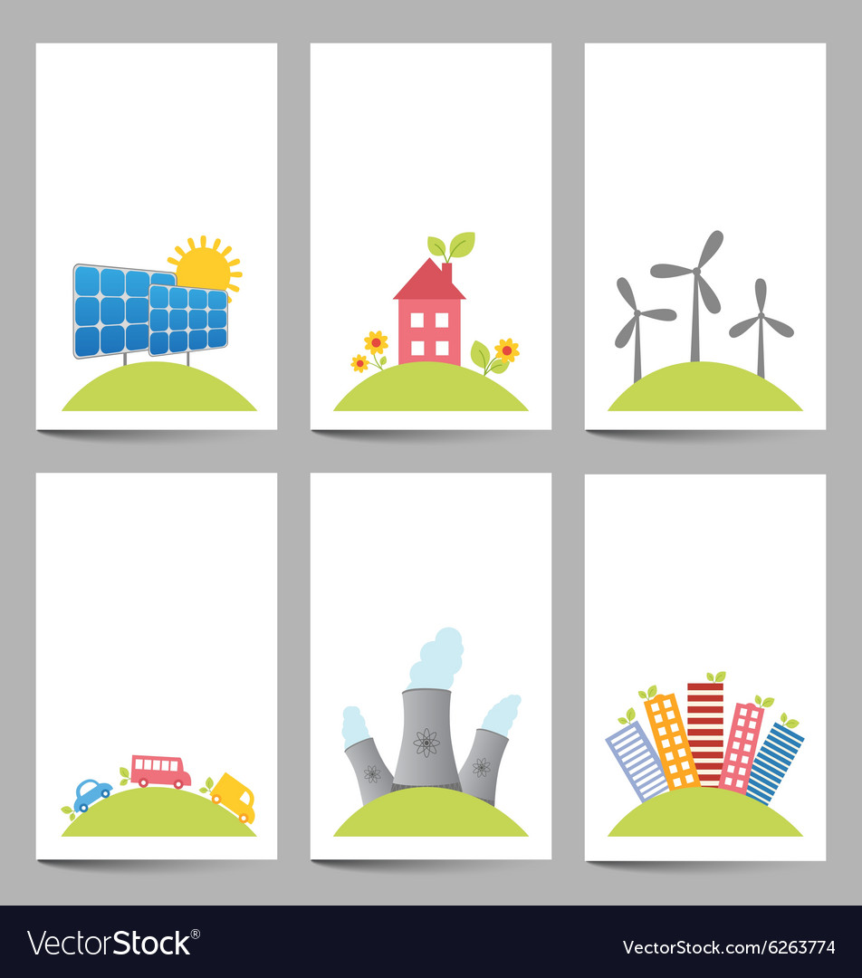 Solar windmills and nuclear power plants banners