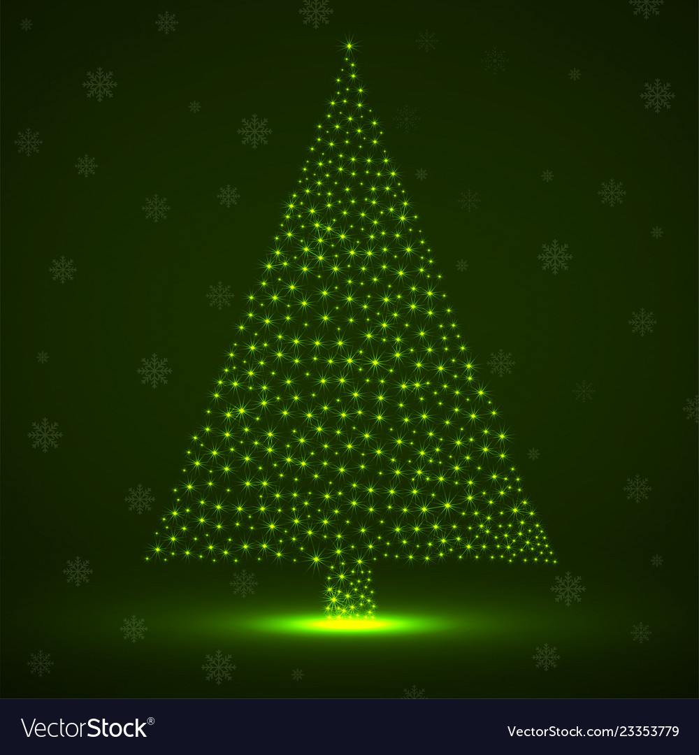 Abstract neon christmas tree of glowing snowflakes