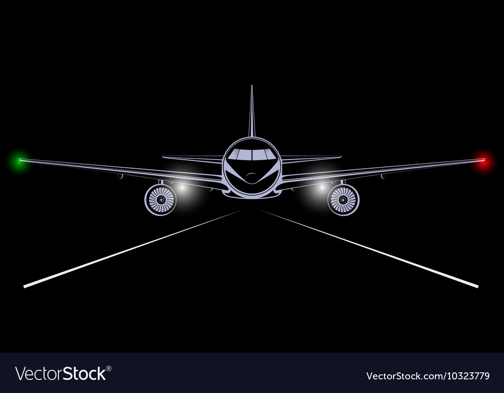 Bright silhouette of a jet airliner coming in to