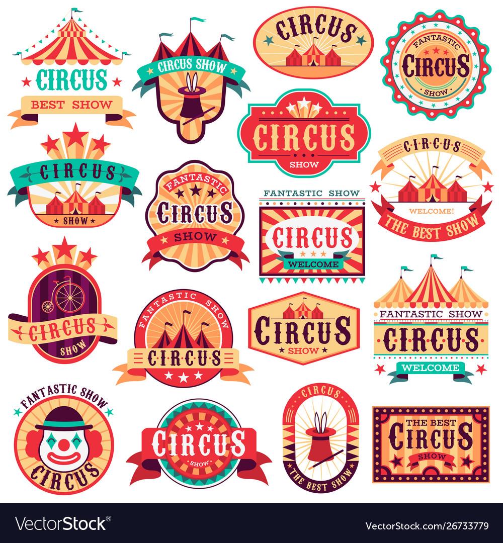 Circus emblems carnival festival fun circus show