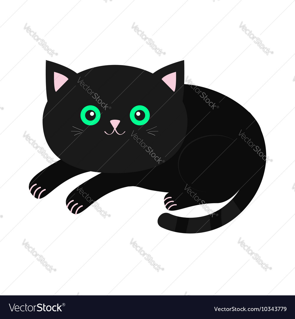 Cute lying black cartoon cat with moustache vector image