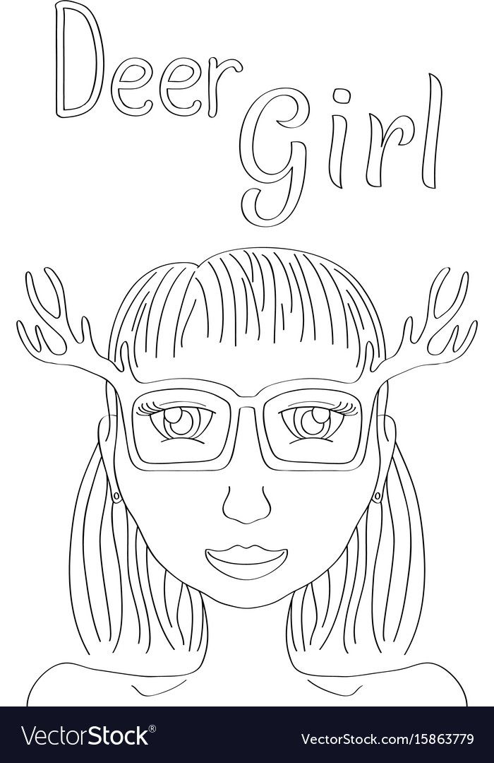 Cute Deer Girl Coloring Pages - Coloring Pages