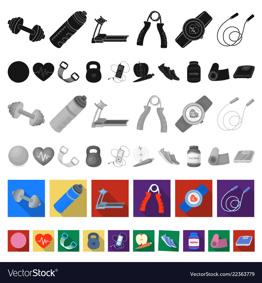 Gym and training flat icons in set collection for