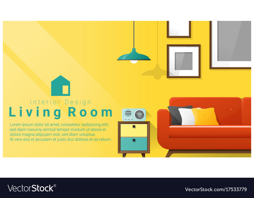 interior design with modern living room royalty free vector
