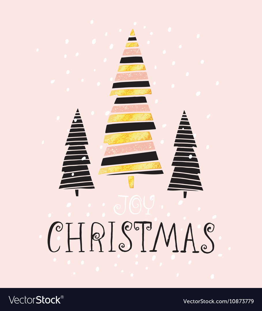 Joy Christmas- winter holiday saying Hand drawn Vector Image