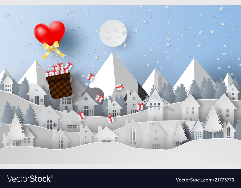Paper art and craft of merry christmas with