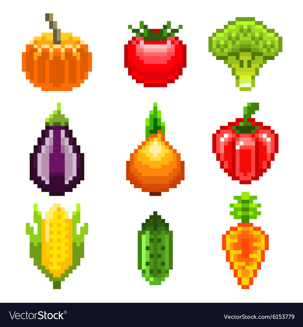 Pixel vegetables for games icons set