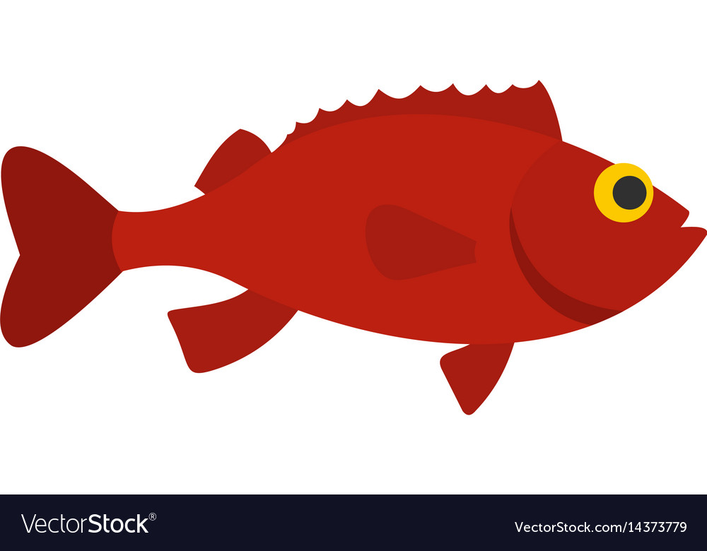 Red betta fish icon isolated vector image