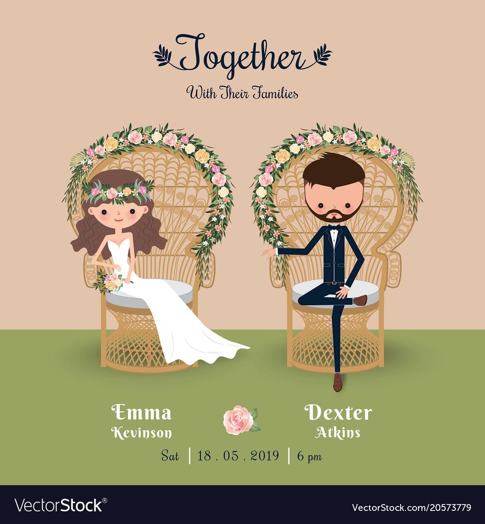 Rustic bohemian cartoon couple wedding invitation vector image stopboris Images