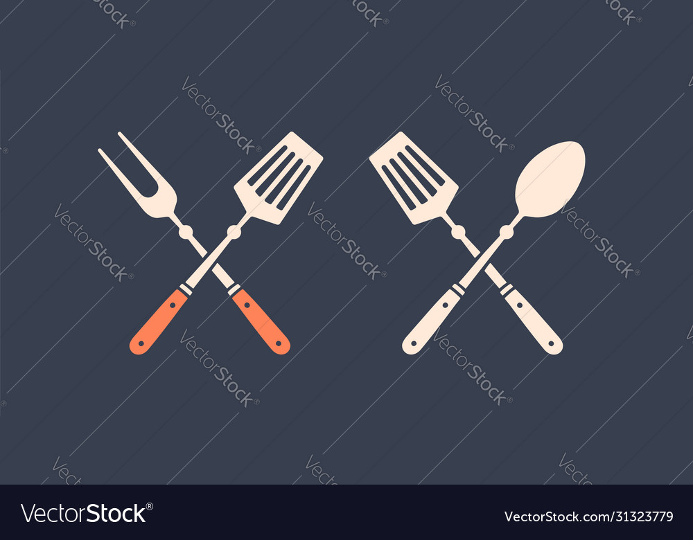 Set grill tools silhouette two bbq tools