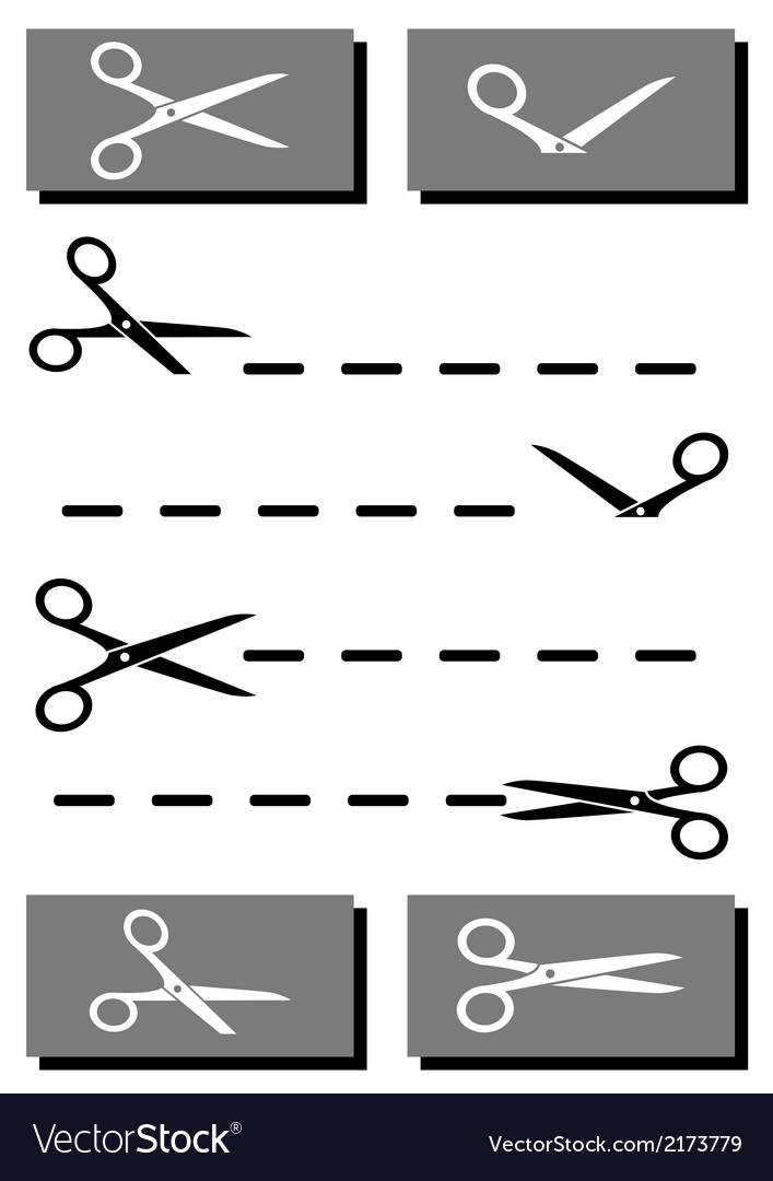 Set Scissors With Coupon And Cut Line Royalty Free Vector