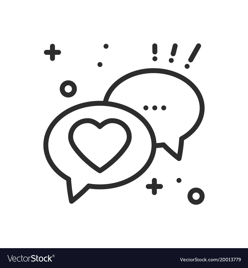 Speech bubble with heart line icon conversation
